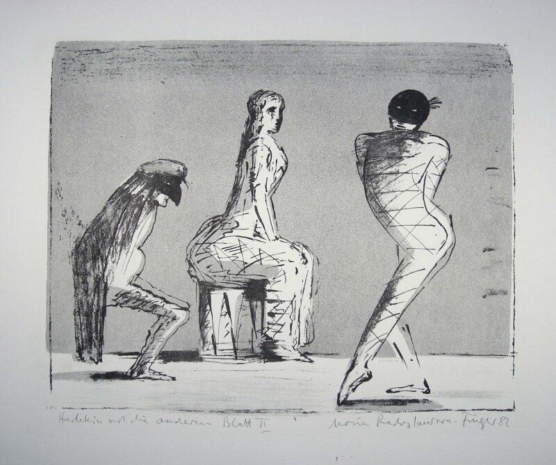 """Abbildung 1: """"Harlekin und die Anderen Bl.II"""" von Maria Radoslavova-Finger"""