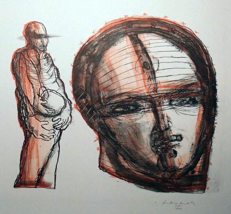 """Abbildung 1: """"Mensch mit Kugel"""" von Franz-Anatol Wyss"""