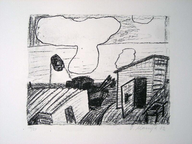 """Abbildung 1: """"Ausfahrendes Boot und große Wolke"""" von Oskar Manigk"""