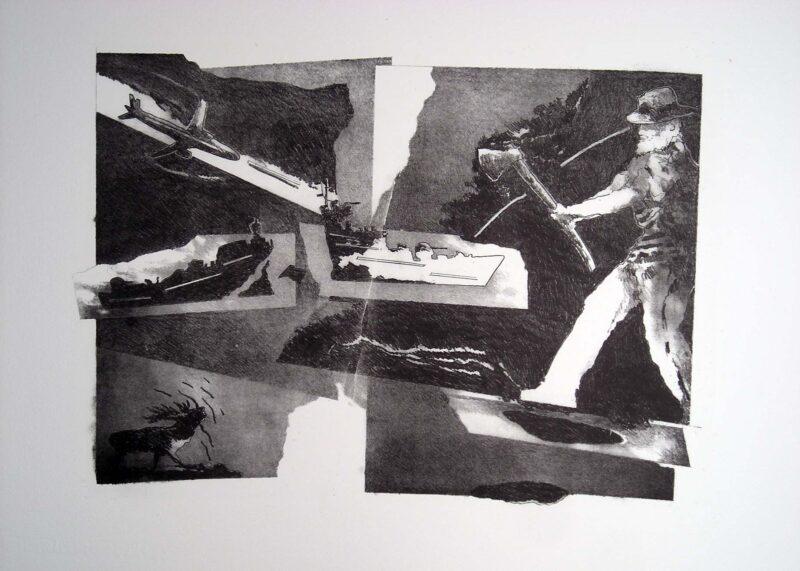"""Abbildung 1: """"(Holzfäller und Hirsch im Krieg)"""" von Franz-Anatol Wyss"""