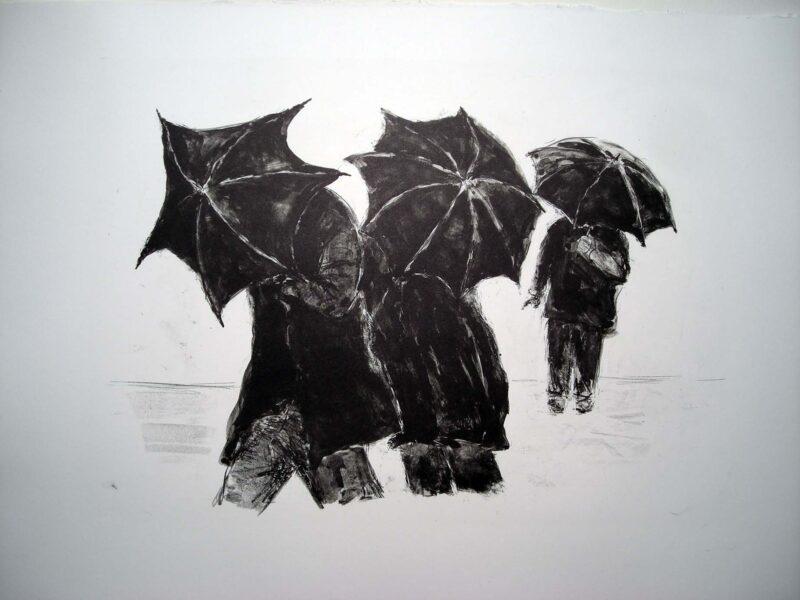 """Abbildung von """"3 Männer mit Schirm"""""""
