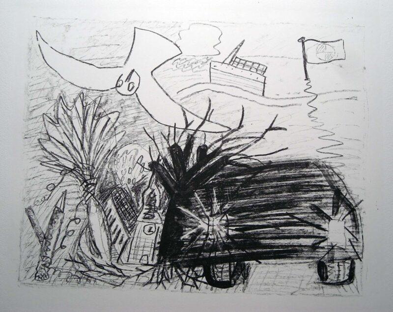 """Abbildung 1: """"(Landschaft mit Stürzender Möwe)"""" von Oskar Manigk"""