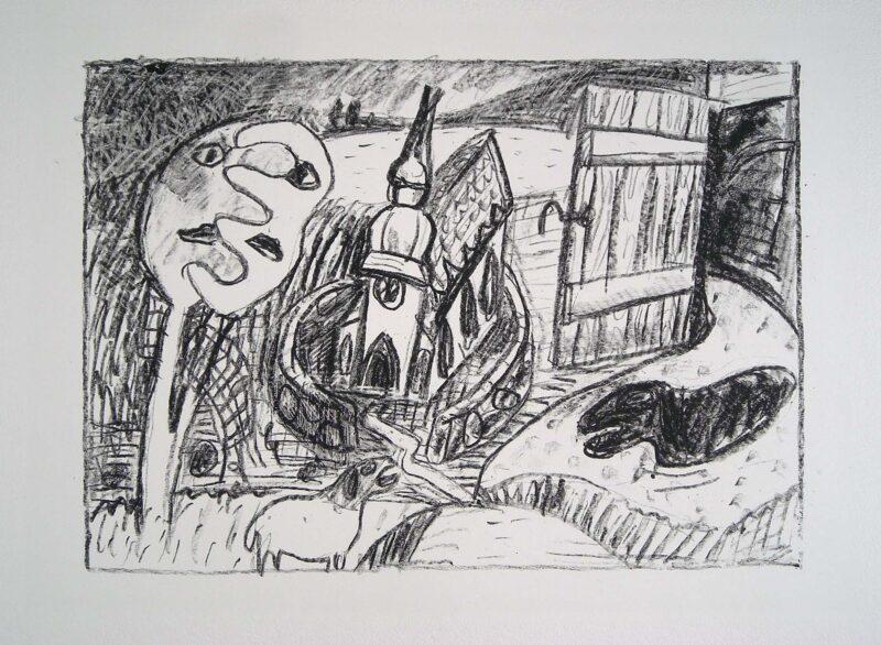 """Abbildung 1: """"(Kirche und Schafe)"""" von Oskar Manigk"""
