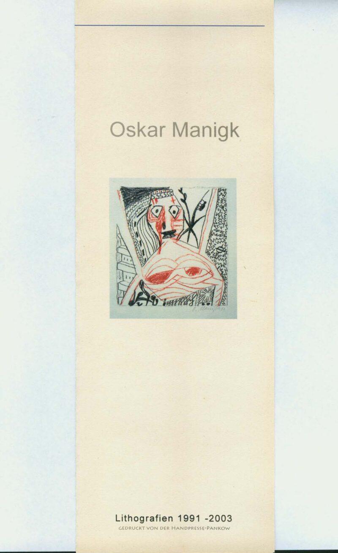 """Abbildung von """"Oskar Manigk Lithografien 1991-2003"""""""
