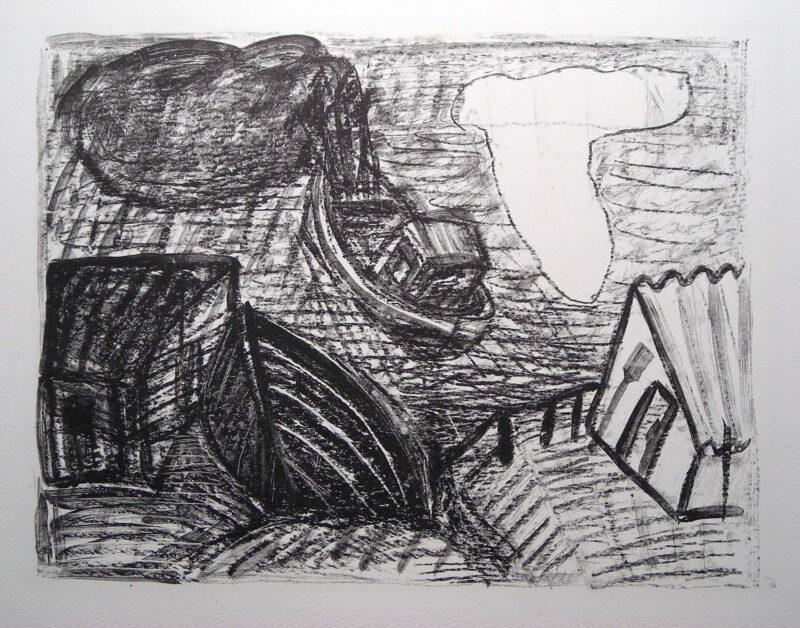 """Abbildung von """"(ausf. Boot, weiße u. schwarze Wolke)"""""""