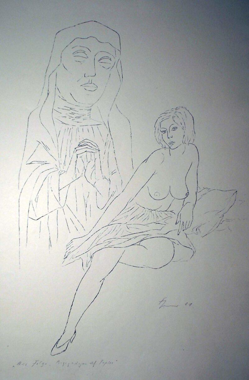 """Abbildung 1: """"Begegnungen auf dem Papier, Blatt 15"""" von Fritz Cremer"""
