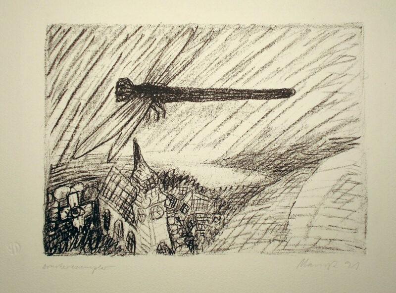 """Abbildung 1: """"Libelle über'm Dorf"""" von Oskar Manigk"""