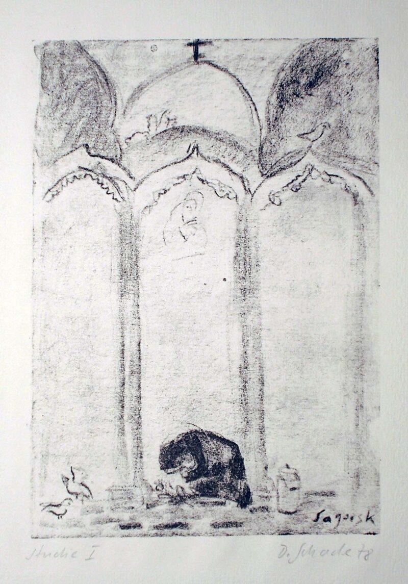 """Abbildung 1: """"Betende in Sagorsk, (Studie I)"""" von Dietrich Schade-Lusici"""