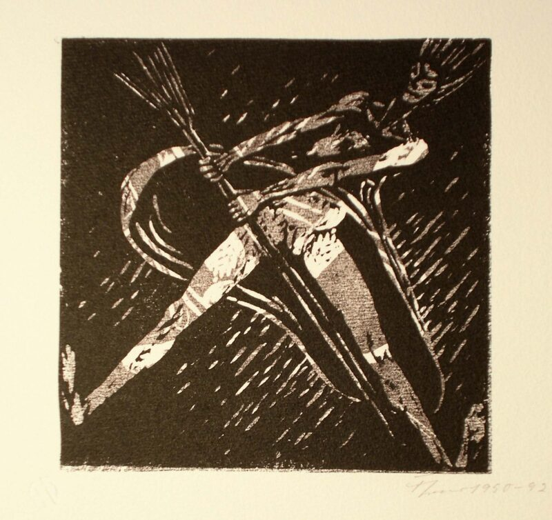"""Abbildung 1: """"Fliegende Hexe auf einem Besenstiel"""" von Fritz Cremer"""