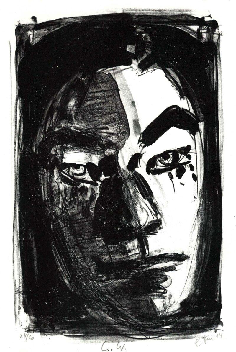 """Abbildung 1: """"Bildnis Christa Wolf"""" von Ellen Fuhr"""