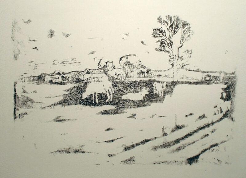 """Abbildung 1: """"Landschaft mit Kühen"""" von Rudi Lesser"""