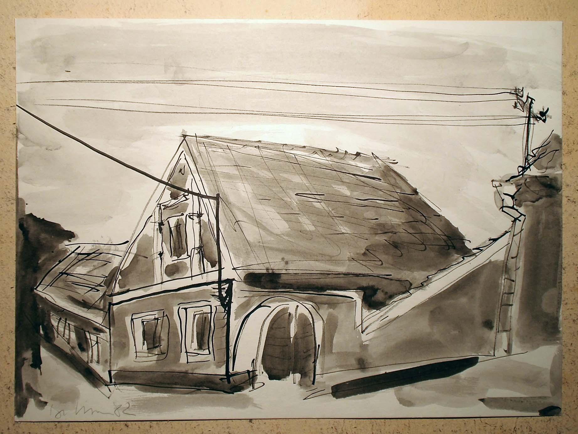 Pankpress Pinsel Zeichnung In böhmischen Dörfern I Peter Dettmann 1982
