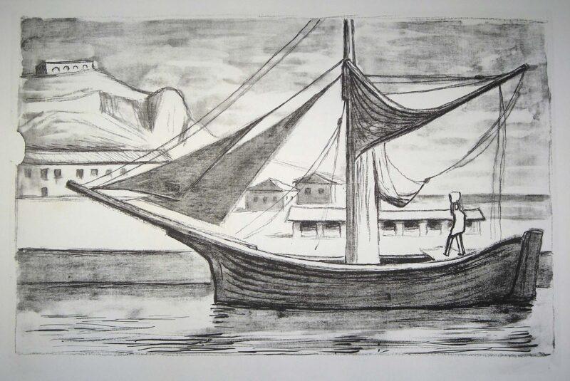"""Abbildung 1: """"(Hafen mit Segelboot)"""" von Herbert Tucholski"""