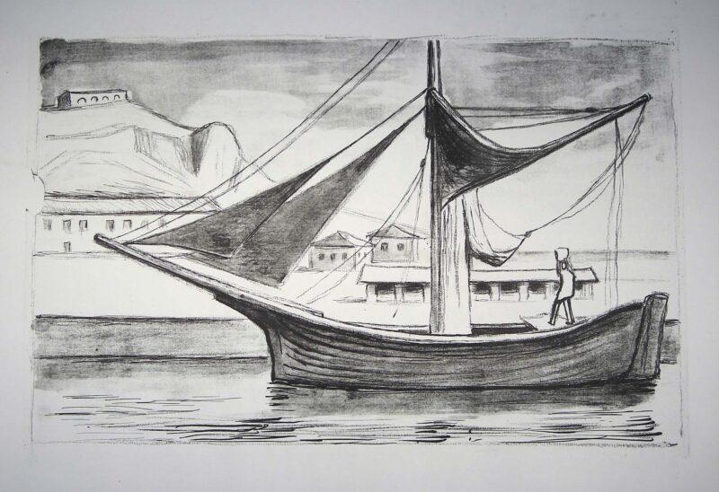 """Abbildung 1: """"(Hafen mit Segelboot -Zustandsdruck)"""" von Herbert Tucholski"""