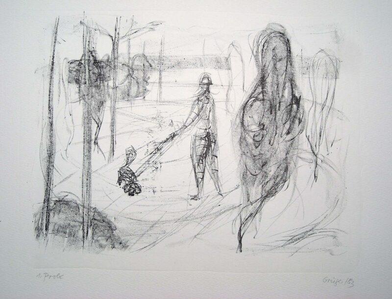 """Abbildung 1: """"(Frau mit Hund)"""" von Margit Grüger"""