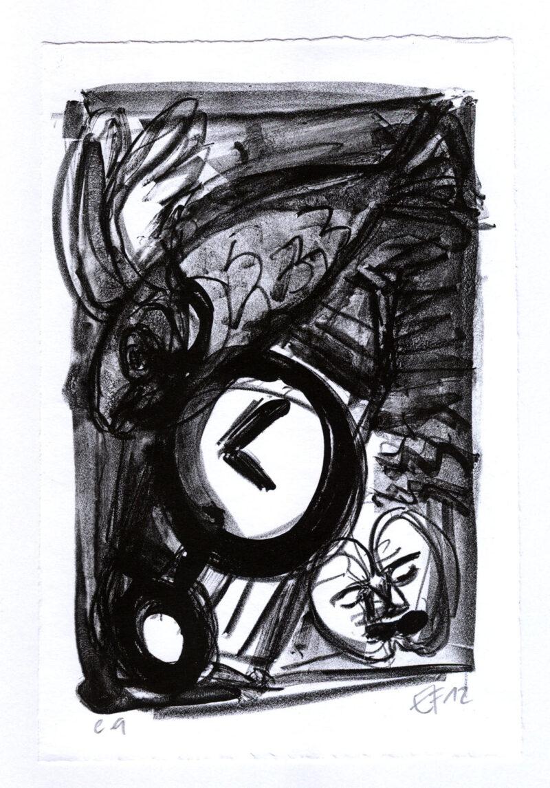 """Abbildung von """"(Fliegender Fisch, Uhr & Liebespaar)"""""""