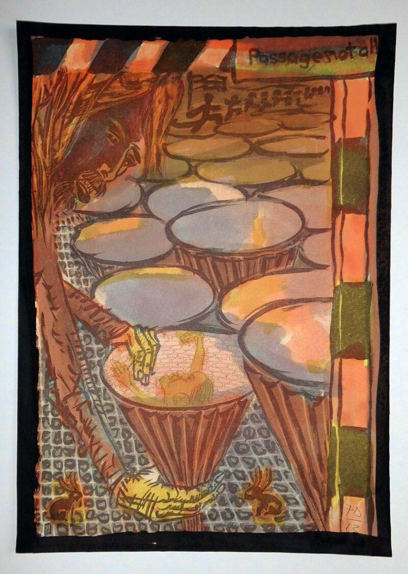 """Abbildung 1: """"Selbst im Granattrichterfeld -coloriert"""" von Peter Dettmann"""