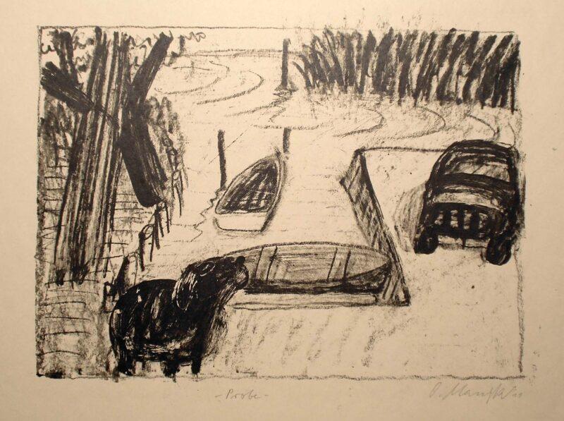 """Abbildung 1: """"Boote, Schaf und Auto"""" von Oskar Manigk"""