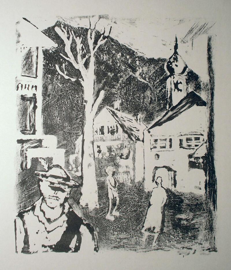 """Abbildung 1: """"(Drei Menschen auf dem Dorfplatz)"""" von Rudi Lesser"""