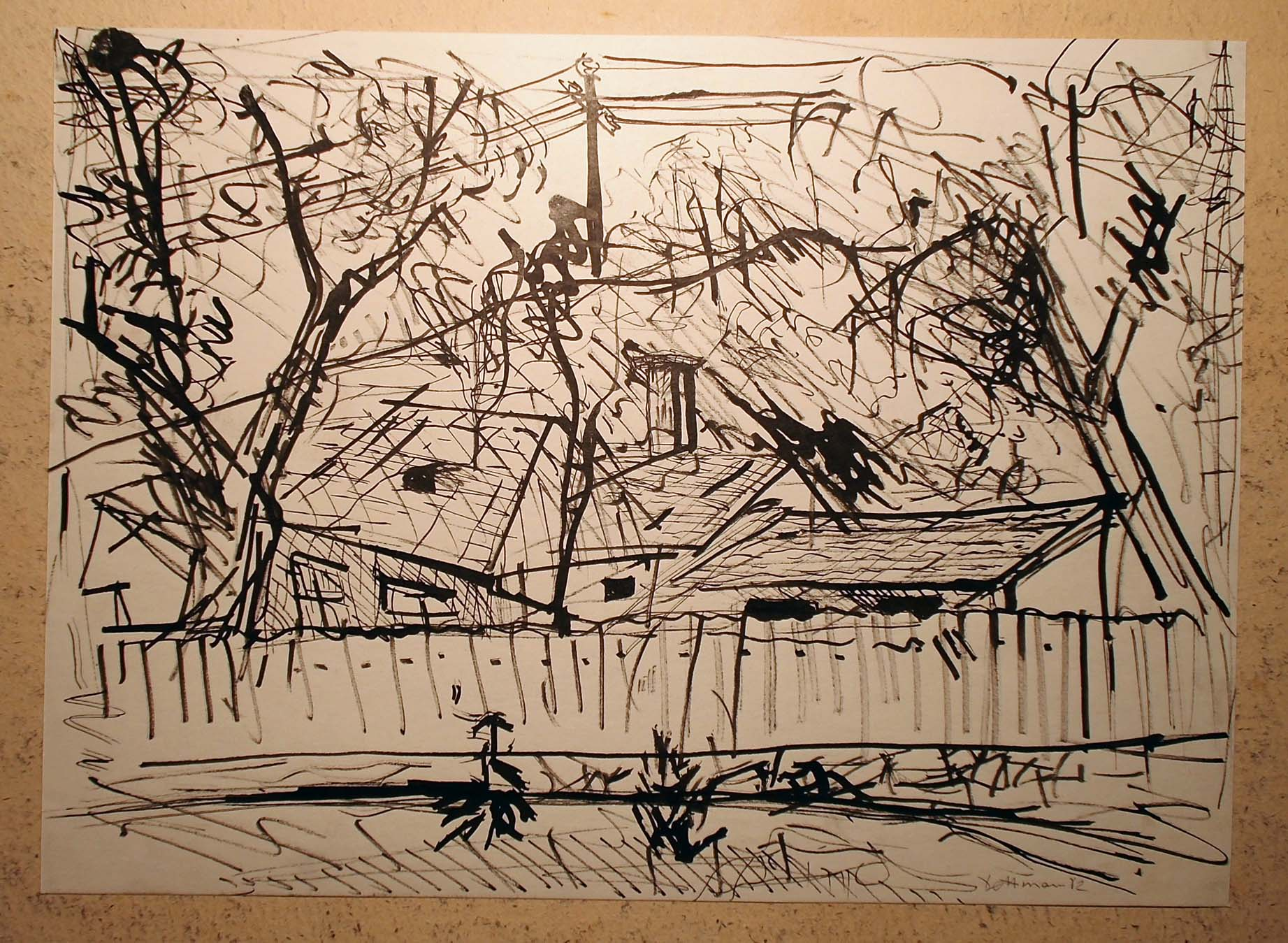 Pankpress Tusche Zeichnung In böhmischen Dörfern XI Peter Dettmann 1982