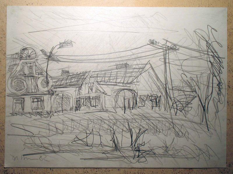 Pankpress Bleistift Zeichnung In böhmischen Dörfern IX Peter Dettmann 1982