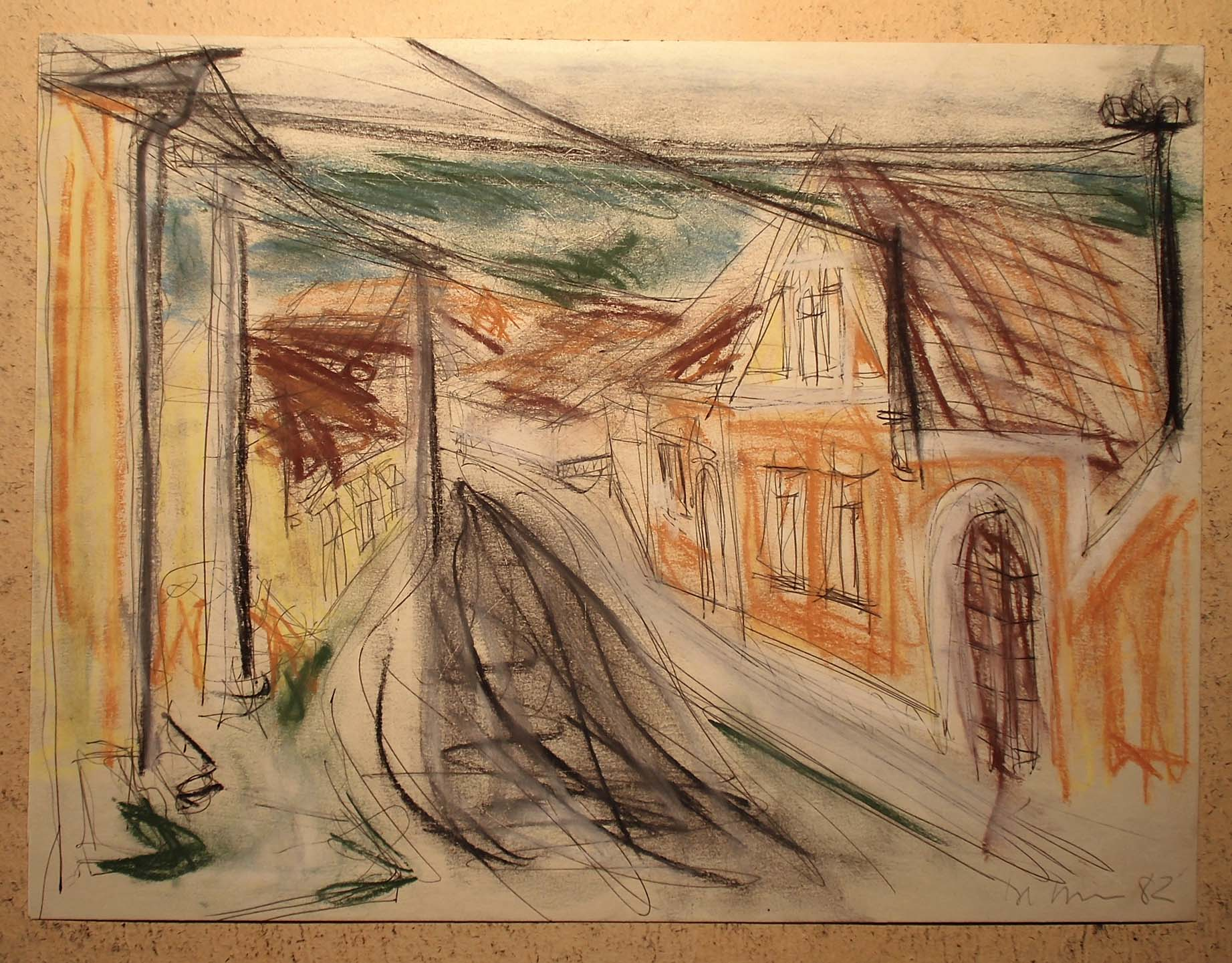 Pankpress Pastell In böhmischen Dörfern VI Peter Dettmann 1982