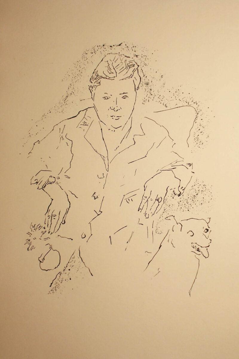 """Abbildung von """"(Sitzende mit Hund)"""""""