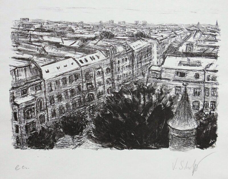 """Abbildung 1: """"Blick von der Immanuelkirche auf d. Prenzlauer Berg"""" von Volker Scharnefsky"""