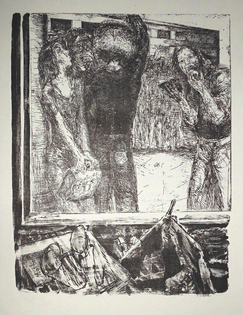 """Abbildung 1: """"Schulhof II (Brille links) auch : Große Pause"""" von Sighard Gille"""