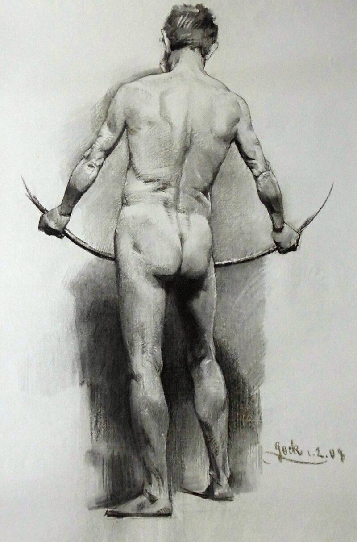 """Abbildung 1: """"Männlicher Rückenakt, stehend (8620)"""" von Ernst Gock"""