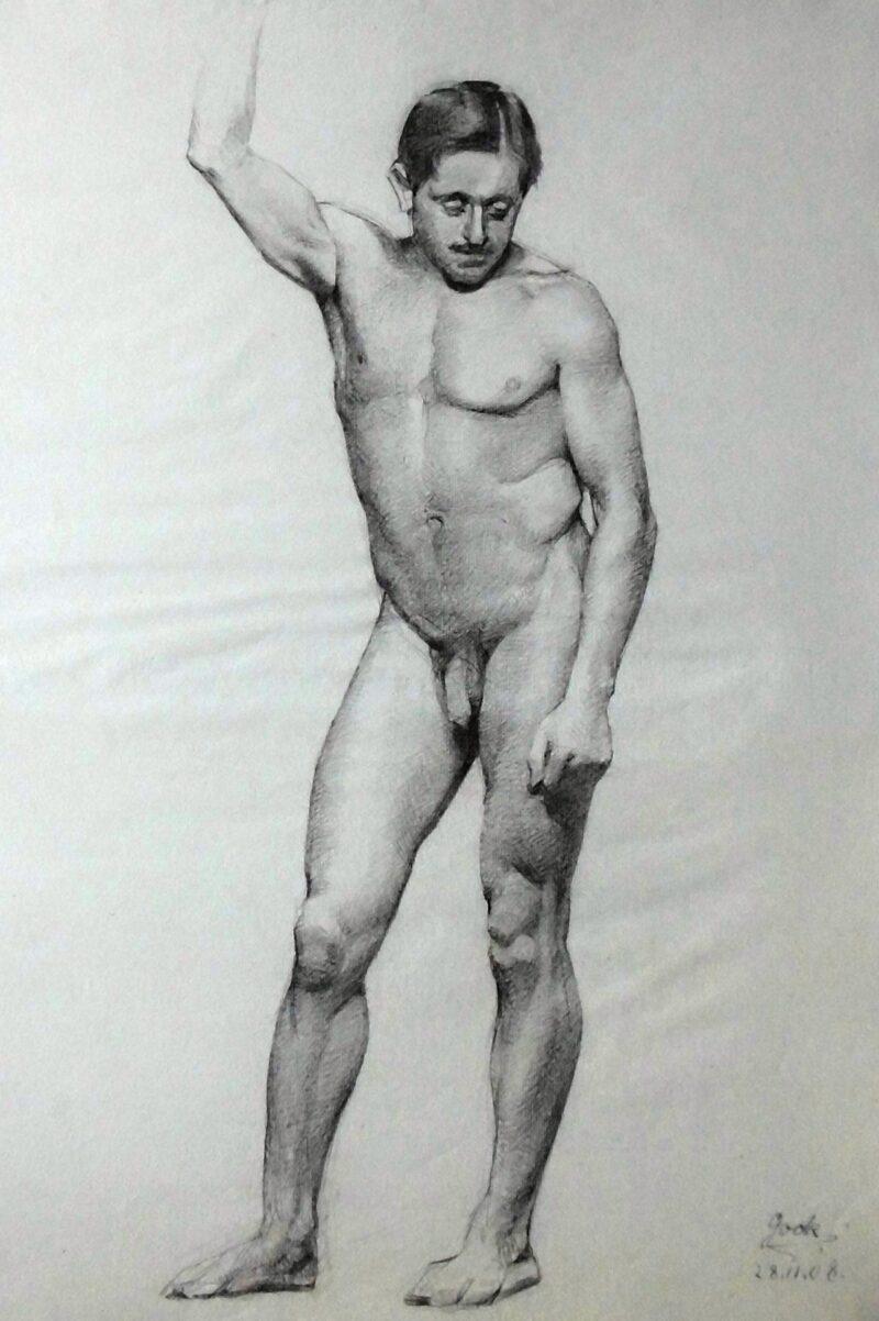 """Abbildung 1: """"Männlicher Akt, stehend (8619)"""" von Ernst Gock"""