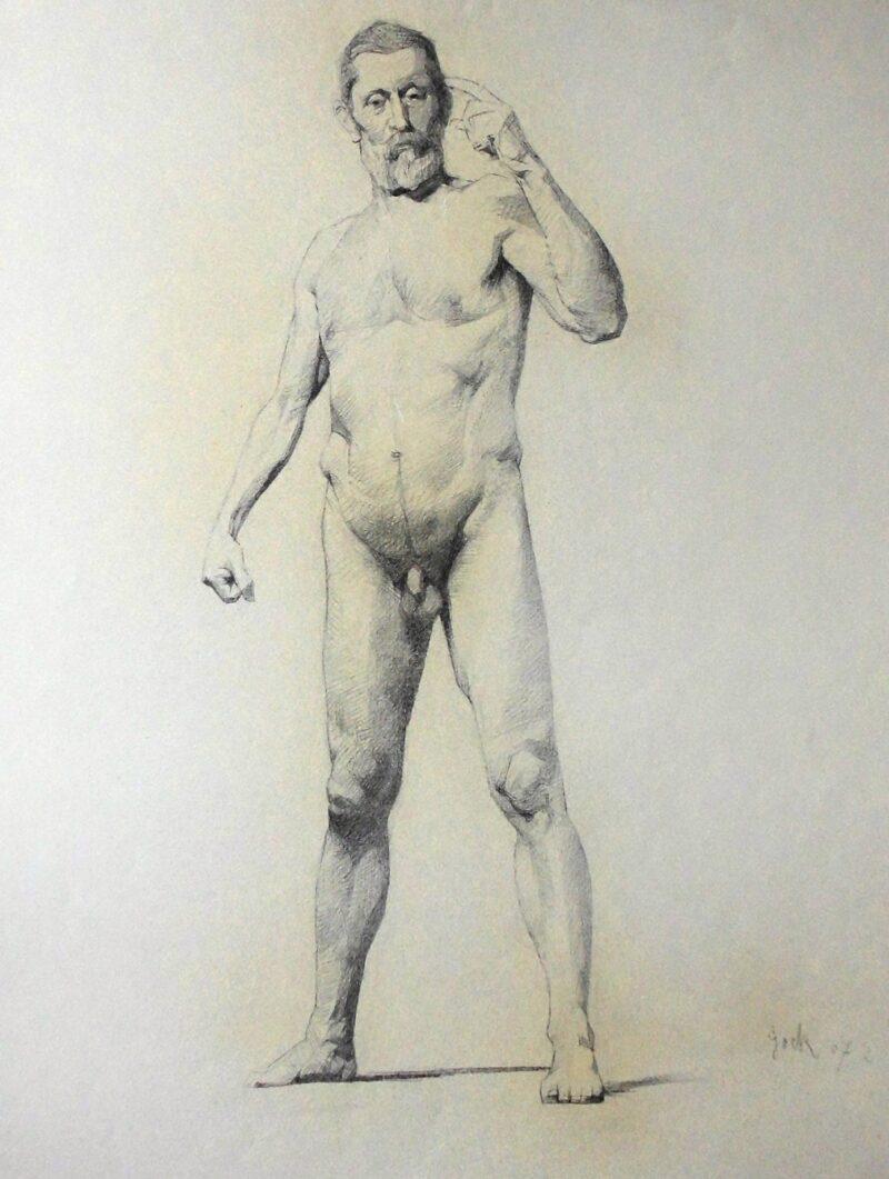 """Abbildung 1: """"Männlicher Akt, stehend (8587)"""" von Ernst Gock"""