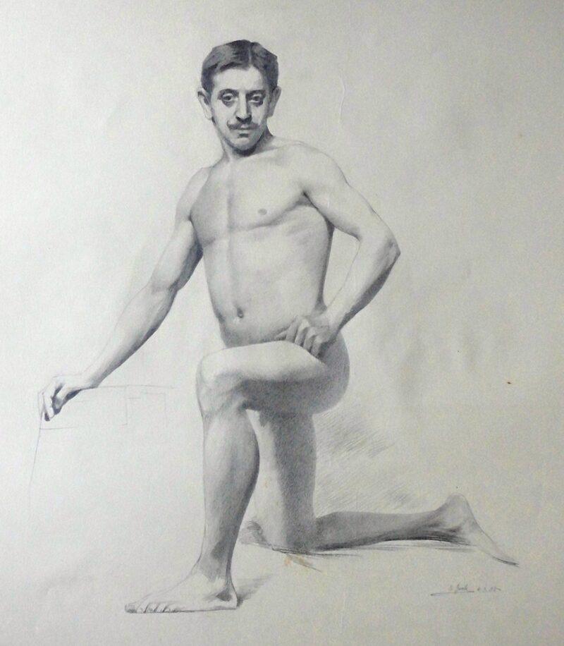 """Abbildung von """"Männlicher Akt, kniend (7168)"""""""