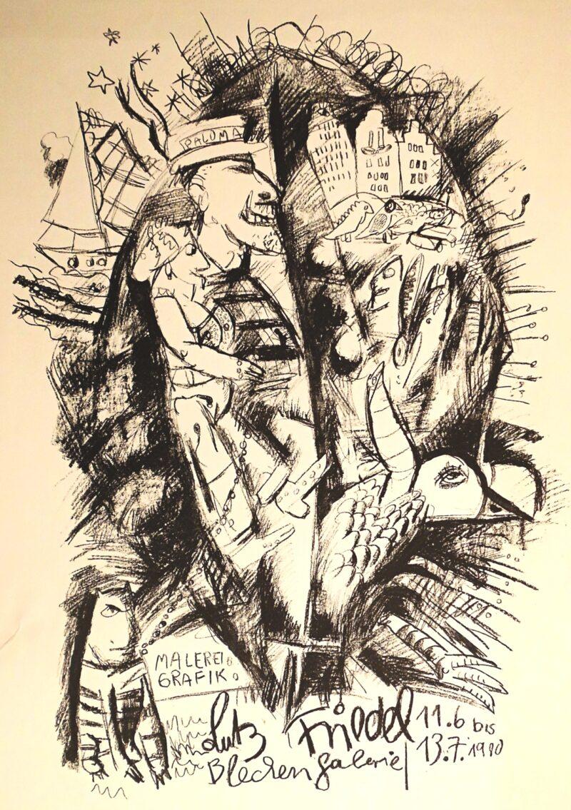 """Abbildung 1: """"Blechengalerie 11.6. bis 13.7. 1980"""" von Lutz Friedel"""