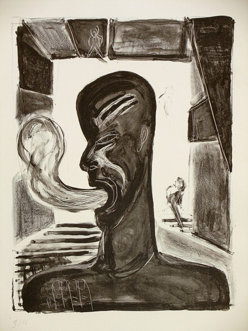 """Abbildung von """"Raucher im Treppenflur"""""""