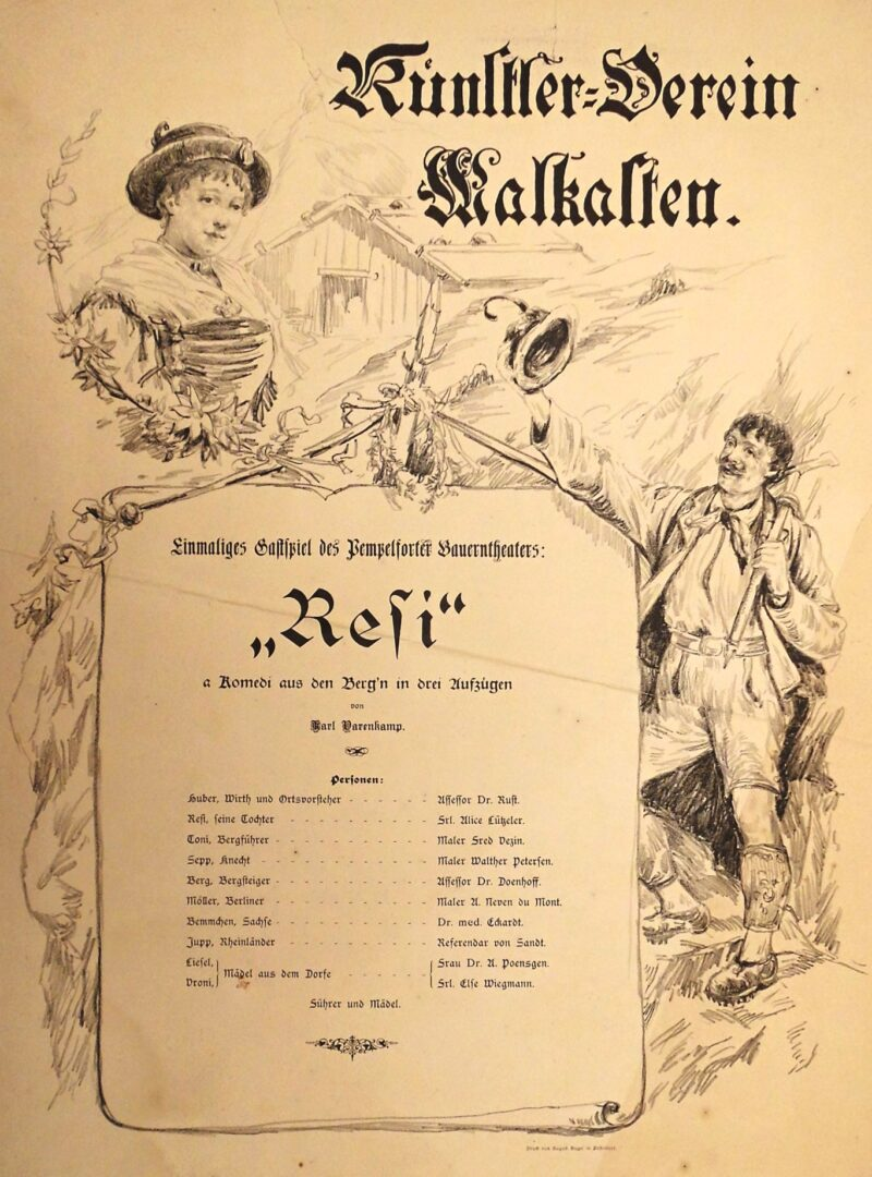 """Abbildung 1: """"Theaterplakat Künstlerverein Malkasten """"Resi"""""""" von Autor Unbekannt"""