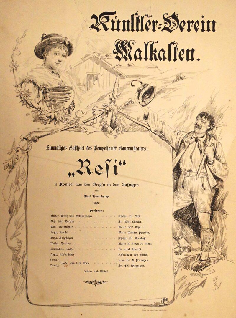 "Abbildung von ""Theaterplakat Künstlerverein Malkasten ""Resi"""""