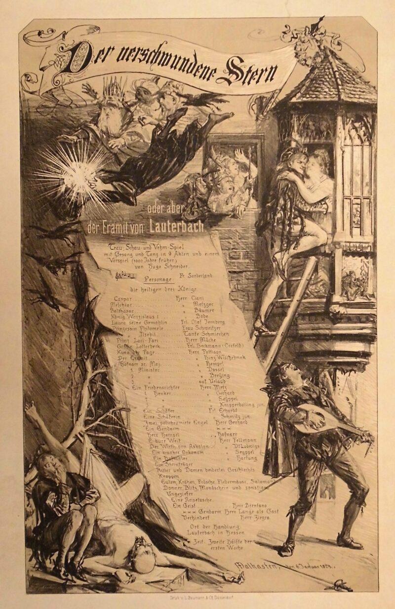 """Abbildung 1: """"Theaterplakat Künstlerverein Malkasten """"Der verschwundene Stern"""""""" von Fritz Neuhaus"""