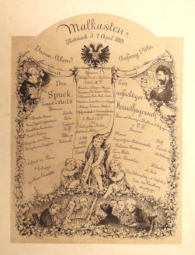 """Abbildung 1: """"Theaterplakat Künstlerverein Malkasten """"Damen-Abend"""""""" von Caspar Scheuren"""