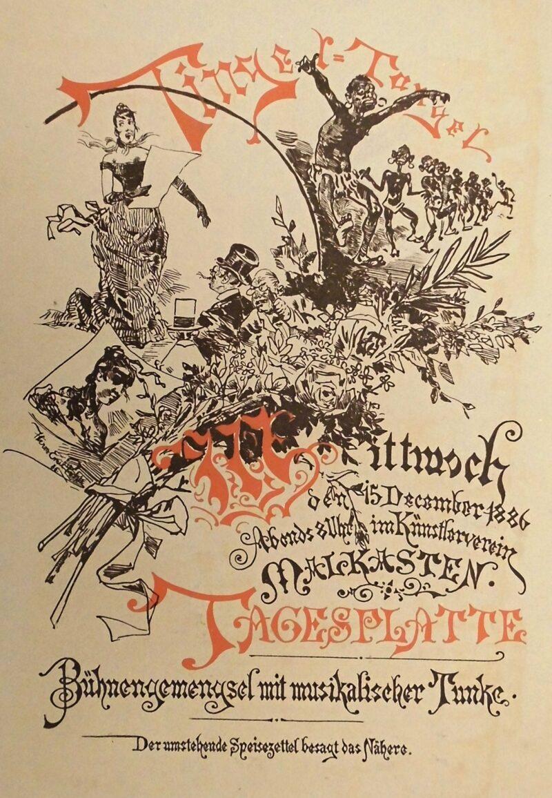 """Abbildung 1: """"Theaterplakat Künstlerverein Malkasten """"Tigel-Tangel """""""" von Hermann-Emil Pohle"""
