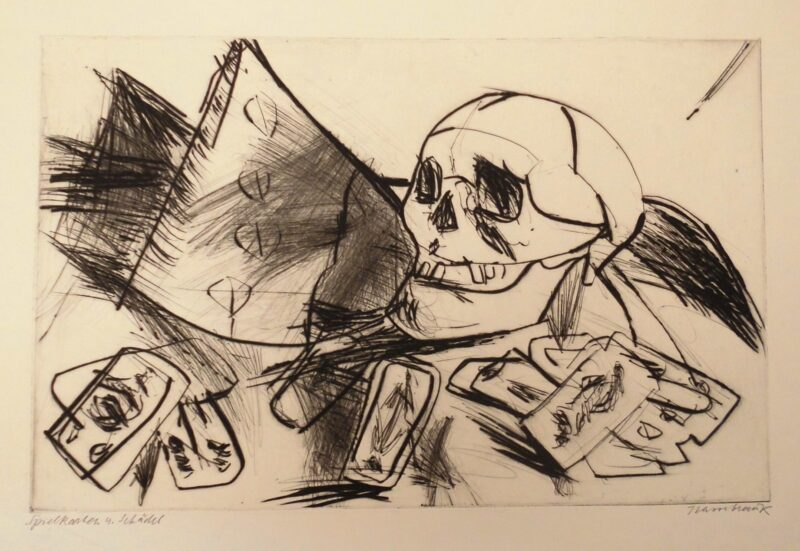 """Abbildung von """"Spielkarten und Schädel"""""""