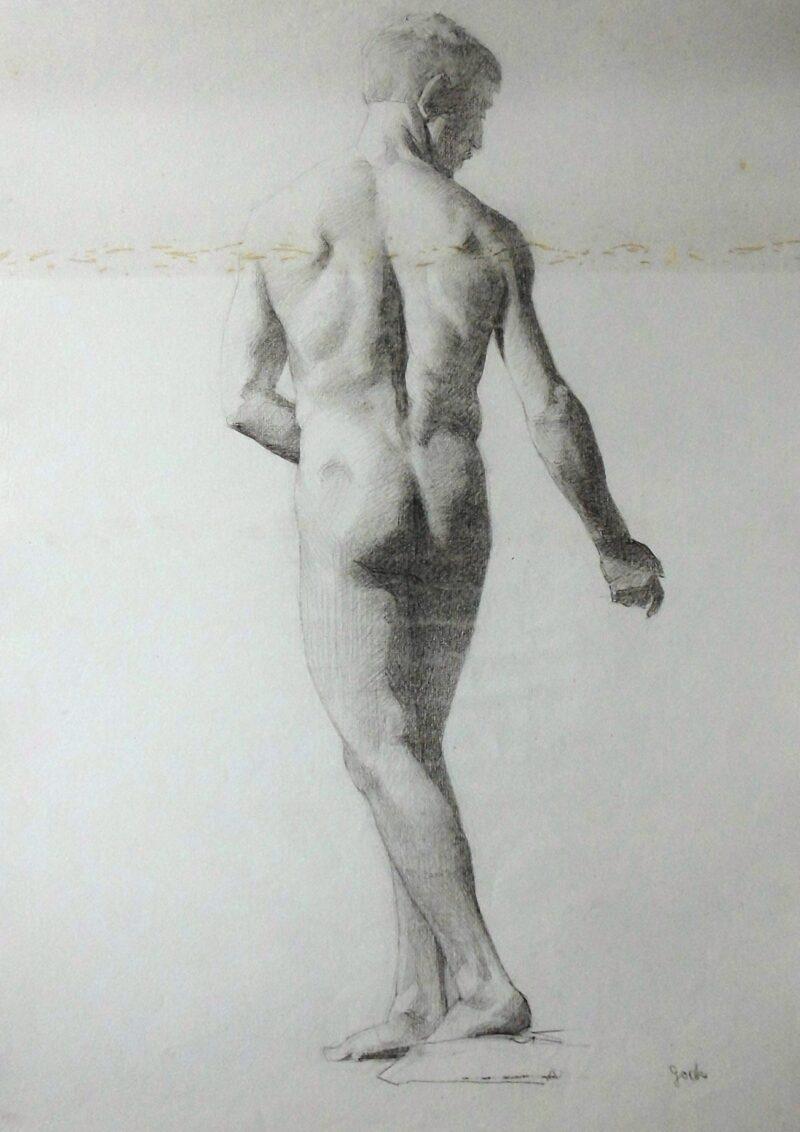 """Abbildung 1: """"Männlicher Rückenakt, stehend (6911)"""" von Ernst Gock"""