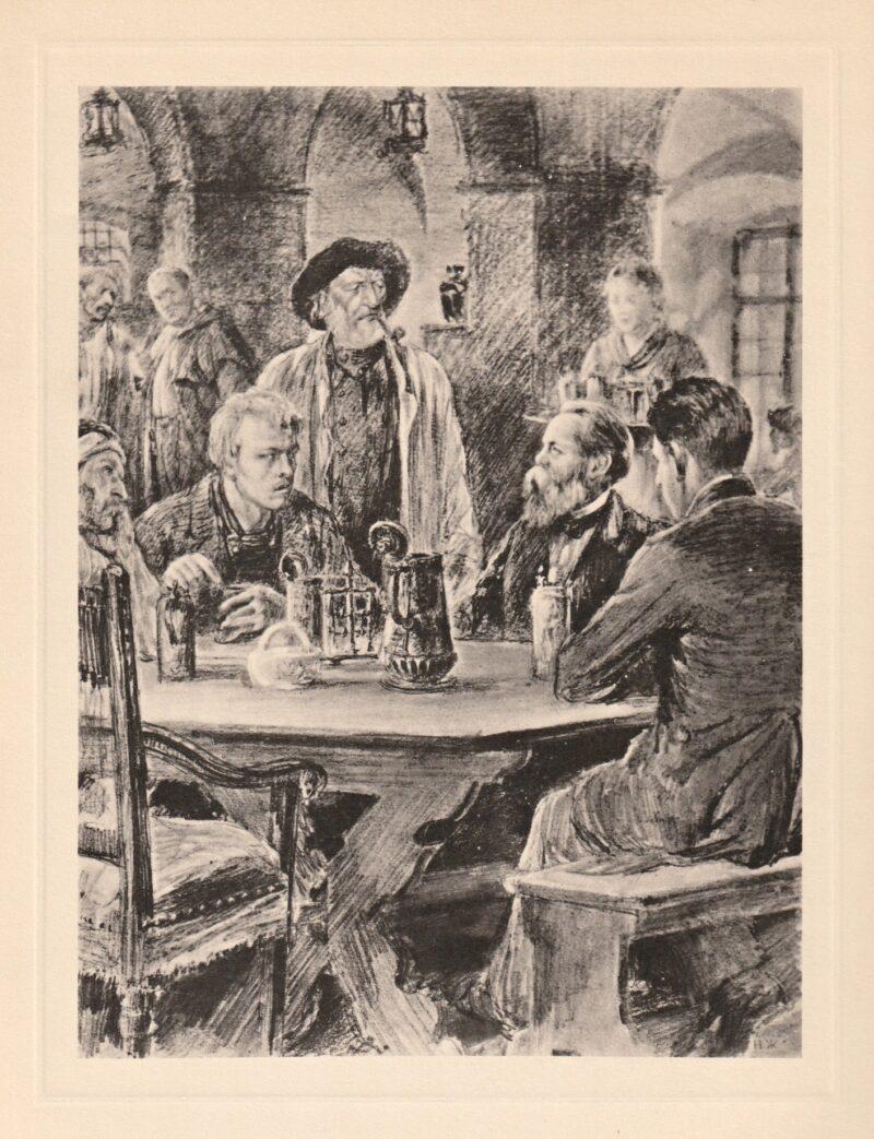 """Abbildung von """"Friedrich Engels unterhält sich mit Arbeitern in einer Schenke"""""""