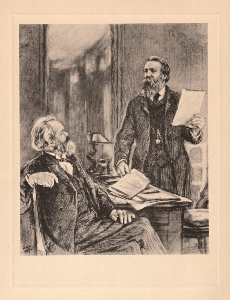 """Abbildung von """"Karl Marx und Friedrich Engels bei der Arbeit"""""""