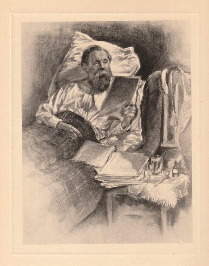"""Abbildung von """"Der kranke Engels bearbeitet das Manuskript """"Das Kapital"""""""""""