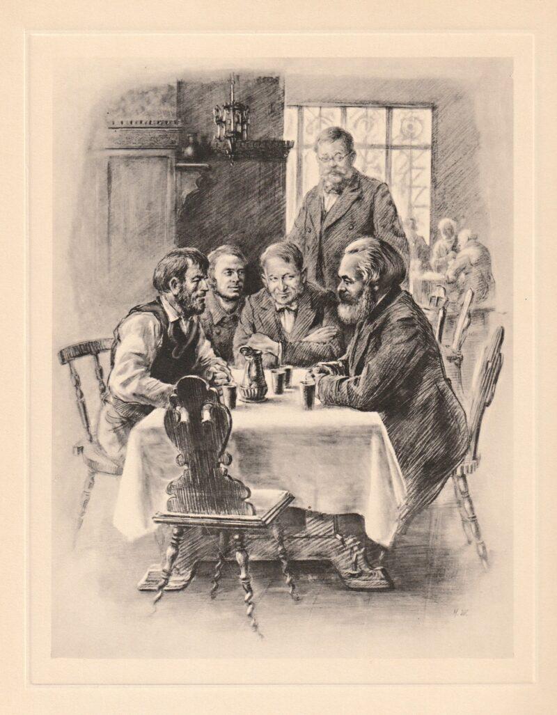 """Abbildung von """"Karl Marx unterhält sich mit Arbeitern in einer Schenke"""""""